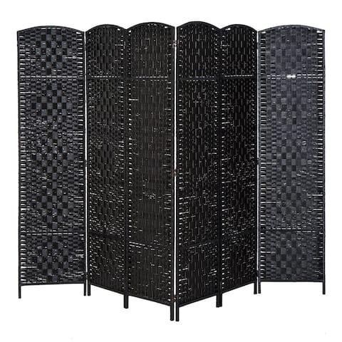 HomCom 6' Tall Wicker Weave Six Panel Room Divider Privacy Screen - Black Wood