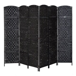 HomCom 6' Tall Wicker Weave Six Panel Room Divider Privacy Screen - Black Wood