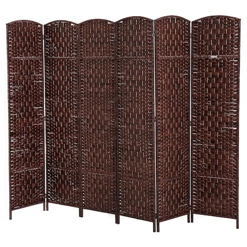 Homcom 6 Tall Wicker Weave Six Panel Room Divider Privacy Screen Chestnut Brown
