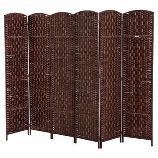 HomCom 6' Tall Wicker Weave Six Panel Room Divider Privacy Screen - Chestnut Brown