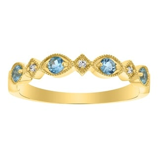 10K Yellow Gold Art Deco Blue Topaz and Diamond Band Ring