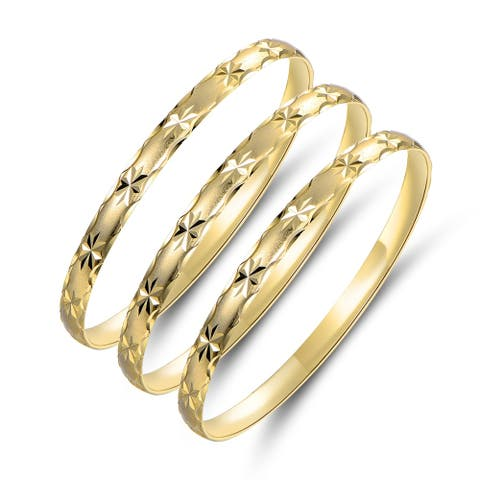 Gold Plated Gold Star Bangle 3pcs Set