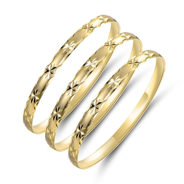 Gold Plated Gold Star Bangle 3pcs Set. Opens flyout.