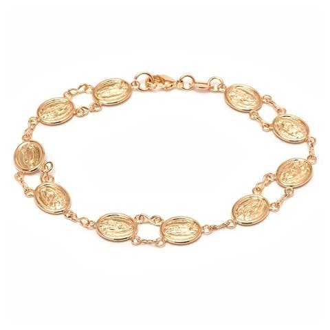 Gold Plated Gold Triple-Tone Virgin Mary Link Bracelet