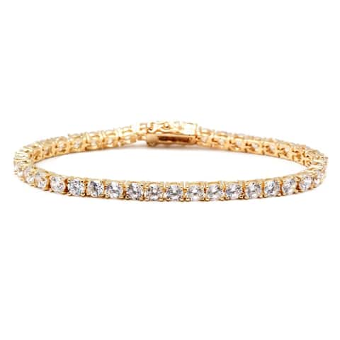 Gold & Crystal Round Tennis Bracelet Made with SWAROVSKI ELEMENTS
