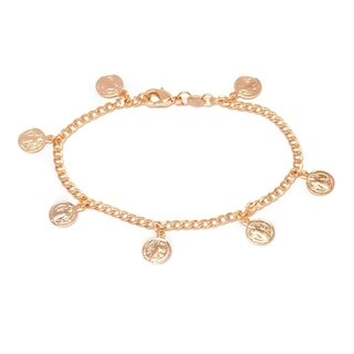 Gold Plated Gold Saint Benedict Coin Charm Bracelet