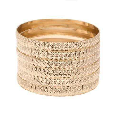 Gold Plated Gold Textured Bangle 6pcs Set