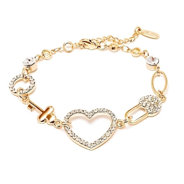 Gold Plated Swarovski Elements X27 Love Heart Bracelet