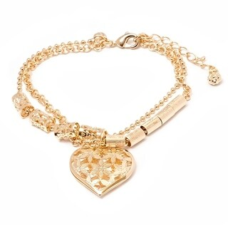 Gold Plated Gold Double Strand Heart Charm Bracelet