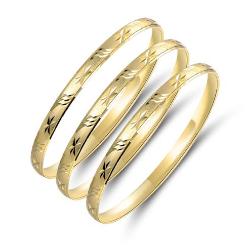 Gold Plated Gold Star and Leaf Bangle 3pcs Set