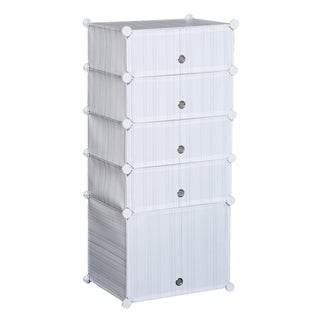 HomCom 5 Drawer Storage Cube Stackable Portable Wardrobe Cabinet With Doors