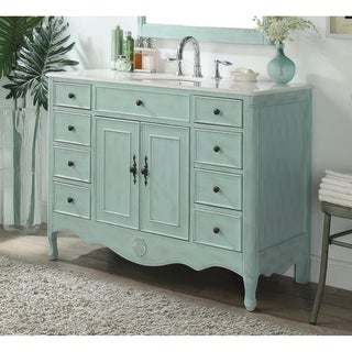 "46.5"" Benton Collection Daleville Light Blue Shabby Chic Vanity"