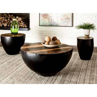 Black Iron Drum Shaped Living Room Table Set with Natural Reclaimed Wood Top