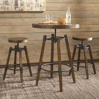 Rustic Industrial Design Adjustable Bar Dining Set