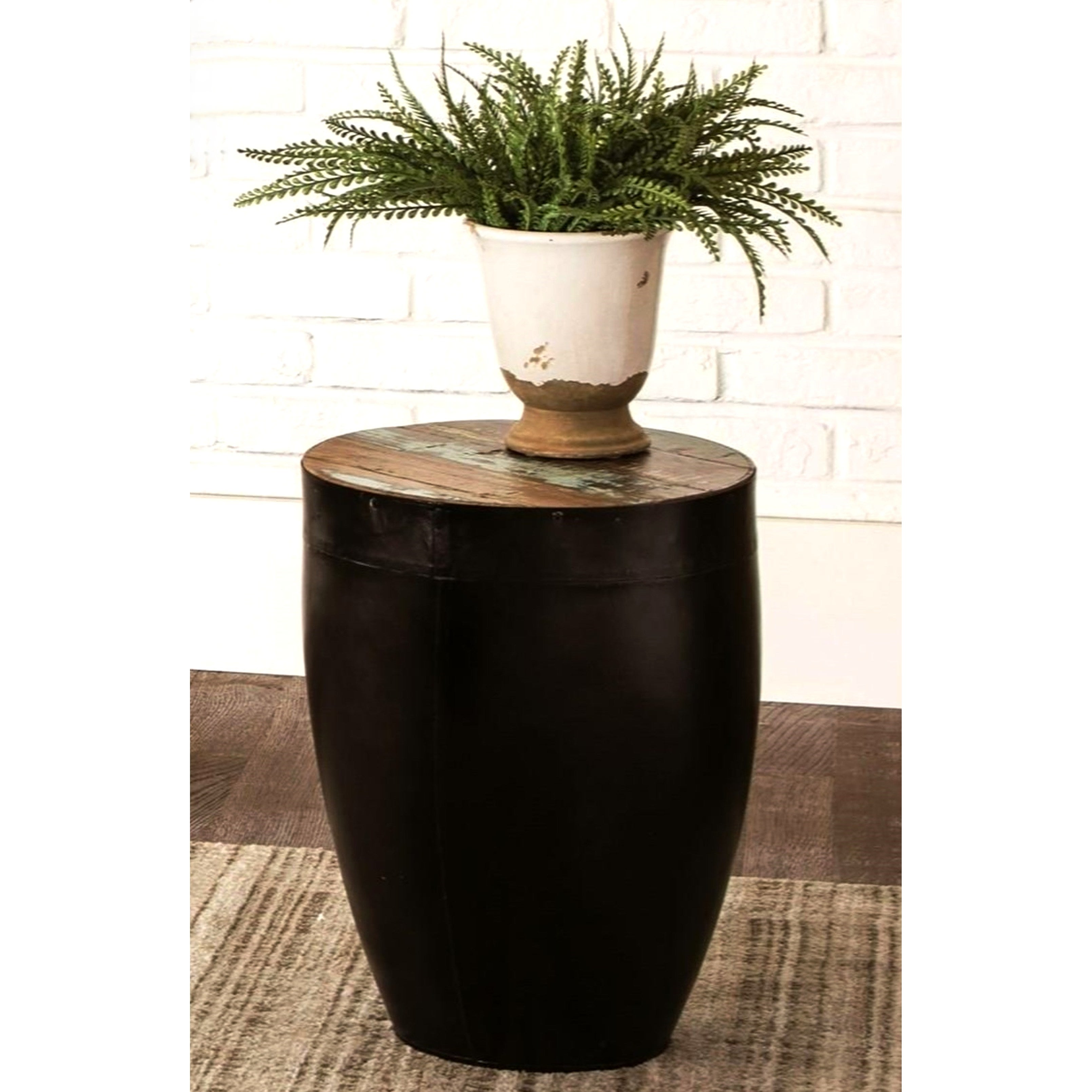 - Shop Black Iron Drum Shaped Accent Side Table With Natural