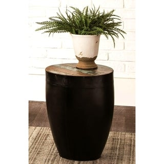 Black Iron Drum Shaped Accent Side Table with Natural Reclaimed Wood Top