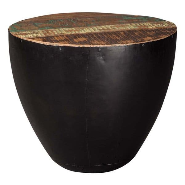 Black Iron Drum Shaped Accent End Table With Natural
