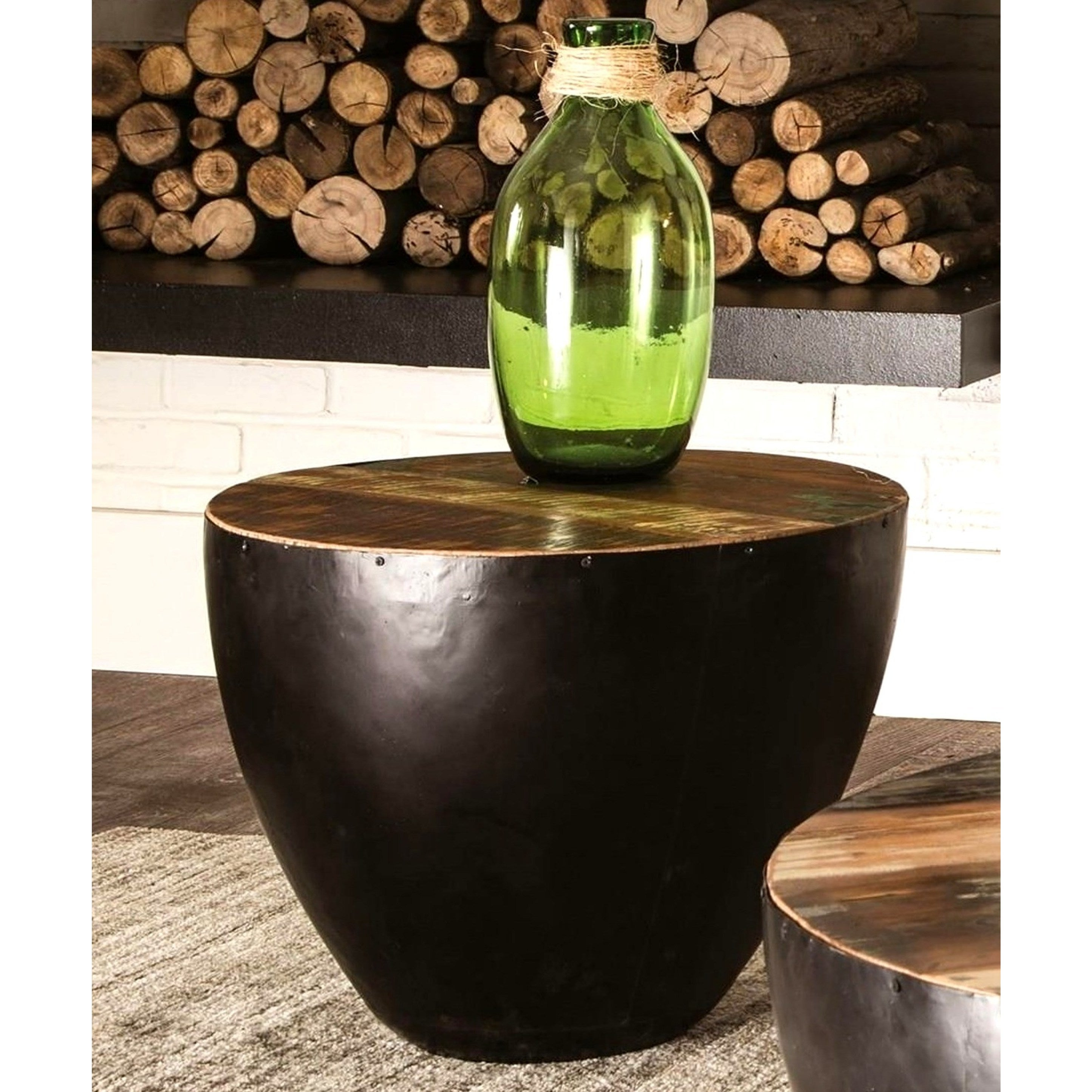 Black Iron Drum Shaped Accent End Table With Natural Reclaimed Wood Top