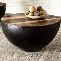 Black Iron Drum Shaped Accent Coffee Table with Natural Reclaimed Wood Top