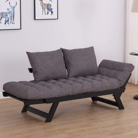 Single Person 3 Position Convertible Couch Chaise Lounger Sofa Bed