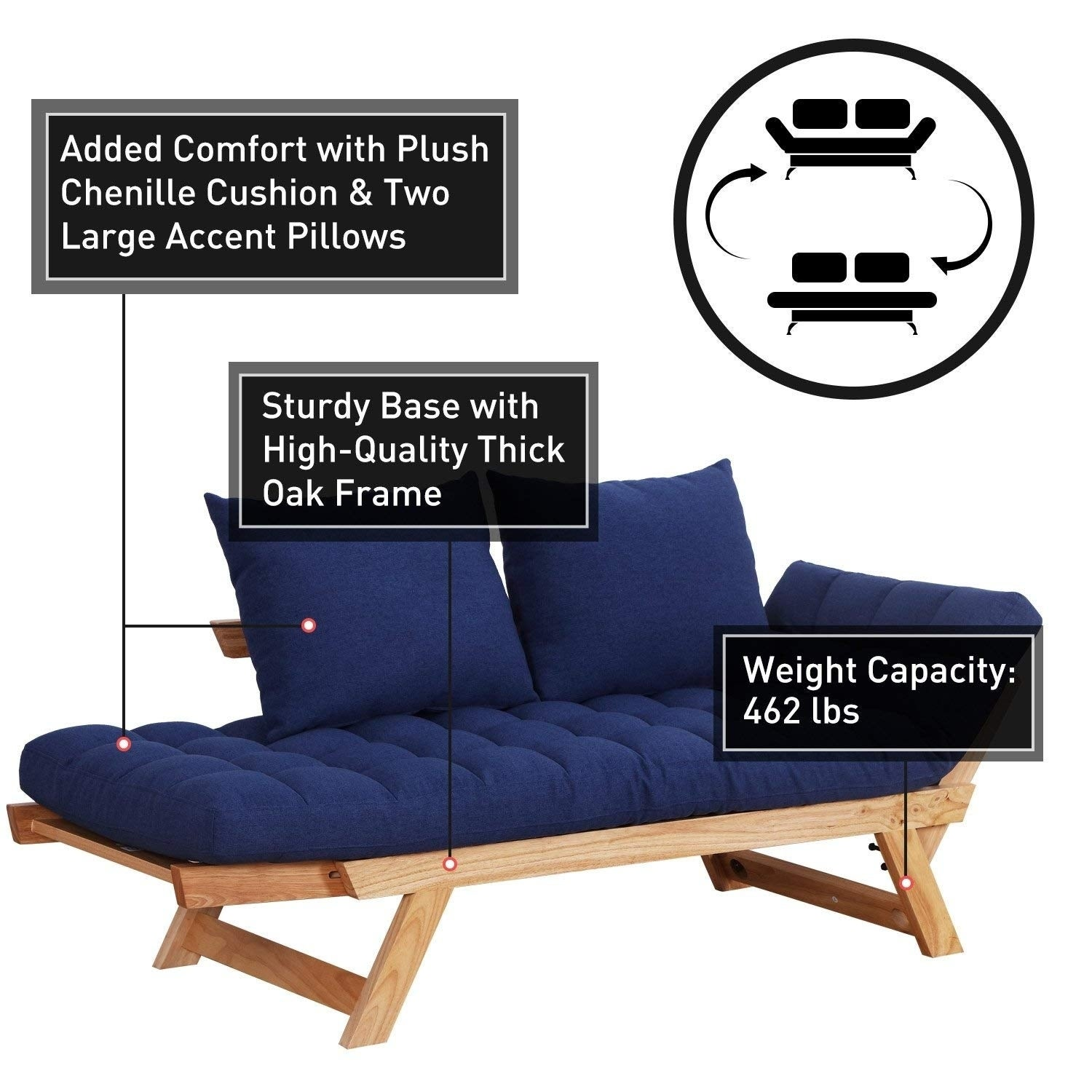 Remarkable Homcom Single Person 3 Position Convertible Couch Chaise Lounger Sofa Bed Natural Wood Dark Blue Uwap Interior Chair Design Uwaporg