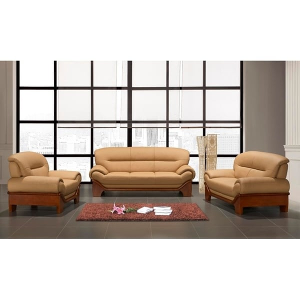 The Avignon 3 Piece Buttermilk Beige Leather And Hardwood Living Room Set