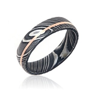 Damascus Steel Wedding Bands USA Made 14k Rose Gold Rings Damascus Rings - Black (More options available)