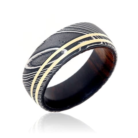 9mm Damascus Steel Wedding Bands USA Made 14k Gold Rings Damascus Rings - Black