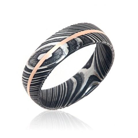 Damascus Steel Wedding Bands USA Made 14k Rose Gold Rings Damascus Rings - Black