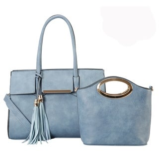 Diophy PU Leather Tassels Decoration Large Tote 2 Pieces Set