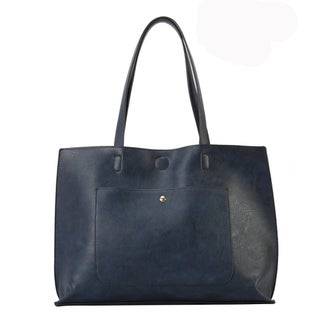 Diophy PU Leather Simple Design Oversize Tote Bag