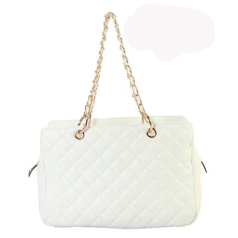 Diophy PU Leather Multi Spaced Quilted Tote Bag
