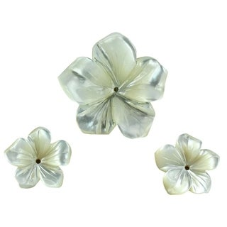 Mother of Pearl (MOP) Carved Flower 26mm & 16mm (Set of 3) Jewelry Making