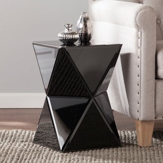 Silver Orchid Olivia Black Mirrored Accent Table
