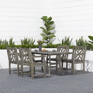 Havenside Home Surfside Rectangular Table and Armchair 5-piece Outdoor Hardwood Dining Set