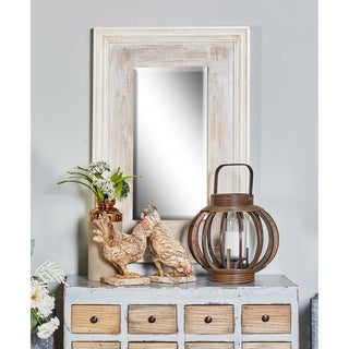The Gray Barn Jartop White Wooden Beveled Wall Mirror