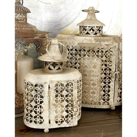 The Curated Nomad Lotta Distressed Lattice Oval Candle Lanterns (Set of 2)