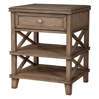 Alpine Furniture Potter French Truffle Brown Mahogany 1-drawer Nightstand with 2 Shelves