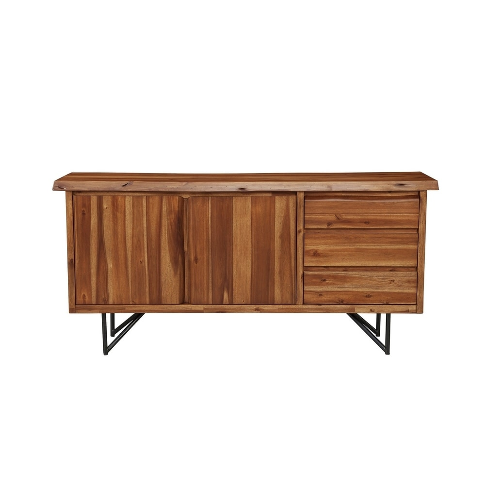 Alpine Furniture Live Edge Walnut Finish Wood/Metal Server