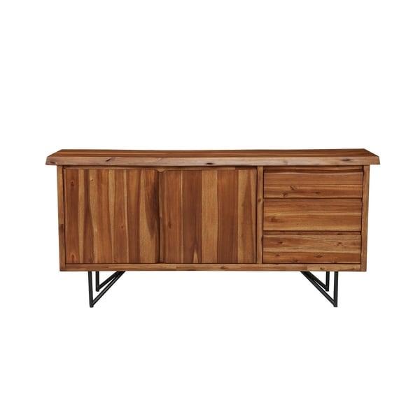 Alpine Furniture Live Edge Walnut Finish Wood/Metal Server. Opens flyout.