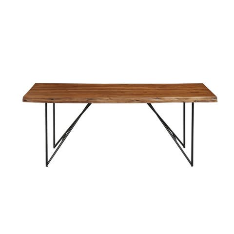 Alpine Furniture Live Edge Solid Wood Dining Table