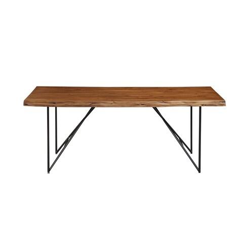 Alpine Furniture Live Edge Light Walnut Solid Acacia Wood Dining Table