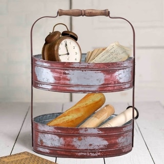 The Gray Barn Country Style Two Tiered Galvanized Iron Tray