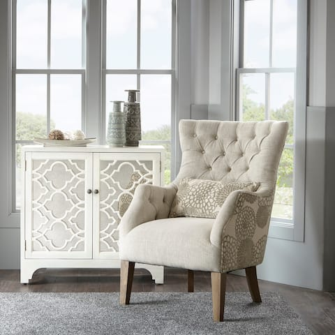Madison Park Furlong Beige Multi Accent Chair with Back Pillow