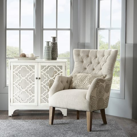 Madison Park Furlong Beige Accent Chair with Back Pillow