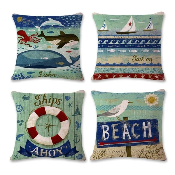 Beach Park Cotton Linen Theme Decorative Throw Pillow Cover