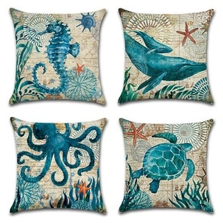 Ocean Park Cotton Linen Theme Decorative Throw Pillow Cover