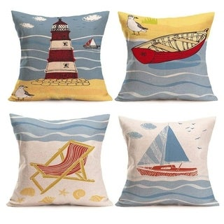 Linen Coastal Throw Pillowcases Sea Theme Cushion Cover