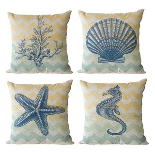 Linen Throw Pillowcases Sea Theme Cushion Cover 18 x 18 inch 4 Pack