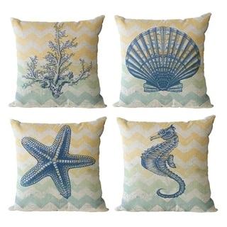 Linen Throw Pillowcases Sea Theme Cushion Cover 18 x 18 inch 4 Pack